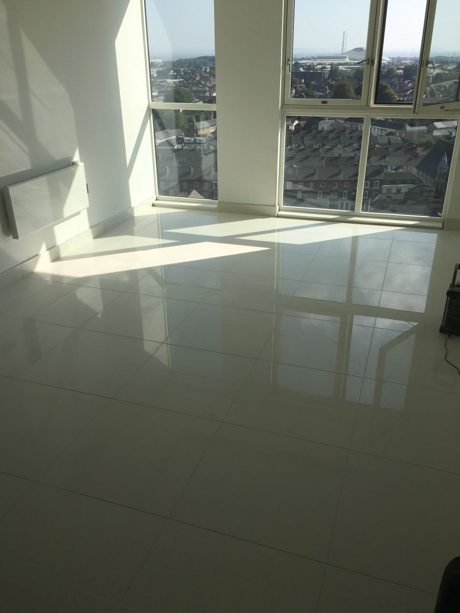 Apartment floor , Polished Porcelain  tile and stone flooring