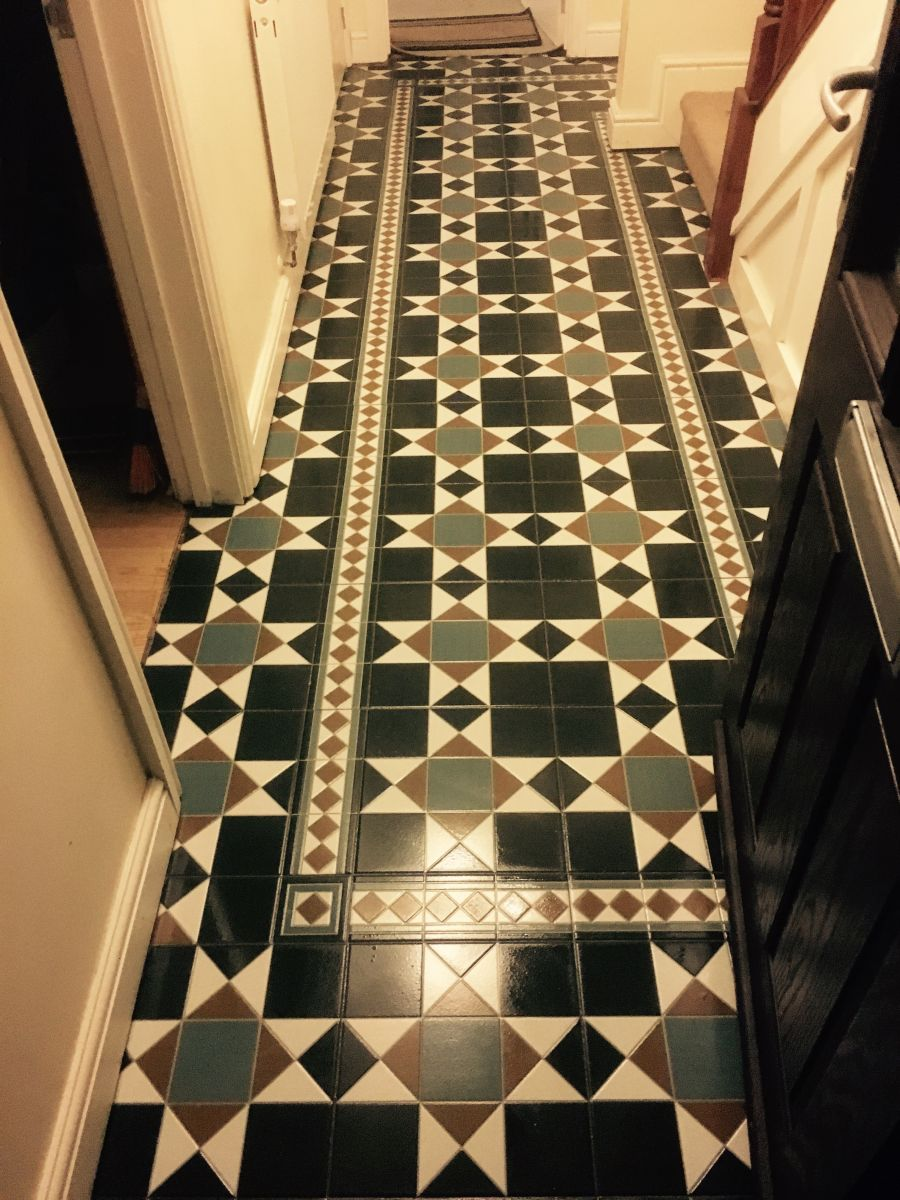 Victorian style hallway floor , Porcelain  tile and stone flooring